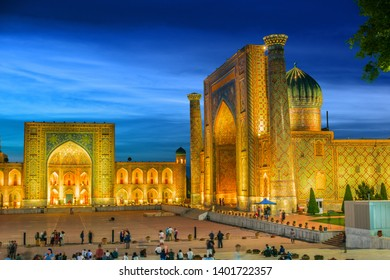 SAMARKAND, UZBEKISTAN - MAY 8, 2019: Registan, an old public square in the heart of the ancient city of Samarkand, Uzbekistan.