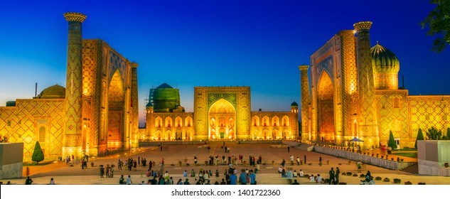 SAMARKAND, UZBEKISTAN - MAY 8, 2019: Registan, an old public square in the heart of the ancient city of Samarkand, Uzbekistan.