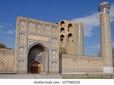 Samarkand, Uzbekistan - November 3, 2019: Bibi Khanym Mosque in the uzbek city Samarqand