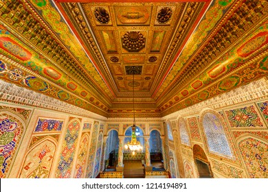 SAMARKAND, UZBEKISTAN - OCTOBER 11, 2018: Interior of a historical synagogue inside the ancient residence of a local jewish man, in Samarkand, Uzbekistan.