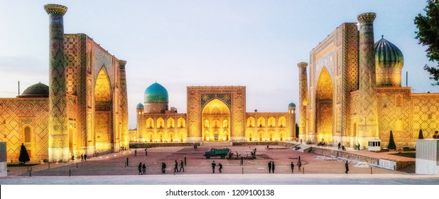 Samarkand, Uzbekistan - October 13, 2015: The Registan, the heart of the ancient city of Samarkand - Uzbekistan
