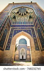 SAMARKAND, UZBEKISTAN - October 2015: Amir Temur (Tamerlan) tomb in Samarkand, Uzbekistan. Entrance gate decorated with colorful Persian style mosaic, Uzbekistan