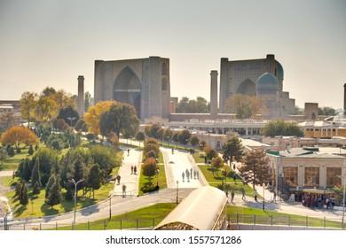 Samarkand, Uzbekistan - October 2019 : Bibi Khanym Mosque in sunny weather, HDR Image