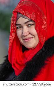 SAMARKAND, UZBEKISTAN - OCTOBER 5, 2017: Portrait of a Uzbek woman, in Samarkand, Uzbekistan