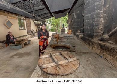 SAMARKAND, UZBEKISTAN - OCTOBER 6, 2017: Silk paper workshop in Konighil village near Samarkand, where they make silk paper using the barks of mulberry tree, Samarkand, Uzbekistan