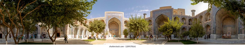 Samarkand, Uzbekistan - September 25, 2018 :  Tourists in 360 degree panorama of Tila Karl Madrasa courtyard in The Registan in Samarkand, Uzbekistan.