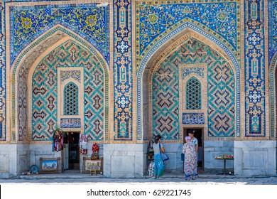 SAMARKAND, UZBEKISTAN - Small souvenir shop in the colorful atrium in Samarkand Registan, Uzbekistan. August 2016