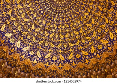 Samarkand, Uzbekistan-October 18, 2018: interior of the Tilya Kori mosque and madrasah, located in Registan square, Samarkand, Uzbekistan