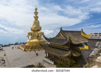 The Samatbhadra statue dominates the Golden Summit Temple at the peak of Emeishan, Sichuan province