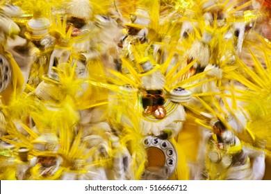 A Samba school parades in the Sambadrome in Carnival