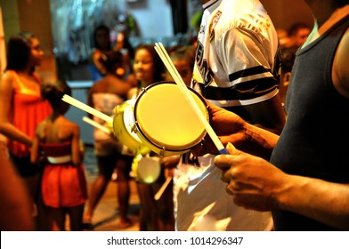Samba school rehearsal with tambourine