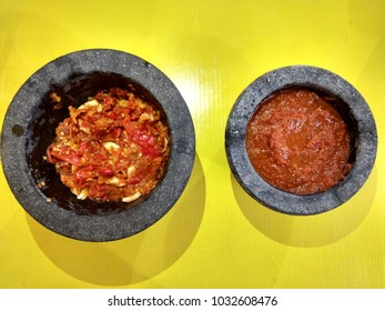 sambal bawang and sambal tomat, two kind of indonesian chili sauce which one is garlic sambal and the other one is tomato sambal
