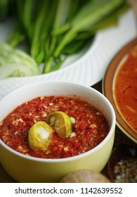 'sambal belacan' - a kind of popular traditional Malay sambal made from chili and shrimp paste. Selective focus.