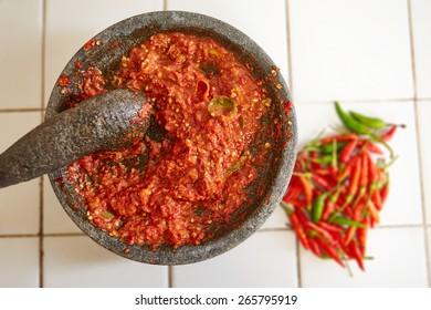 Sambal and its main ingredients, chili
