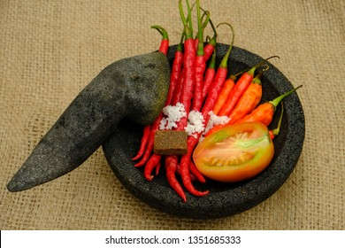 Sambal Terasi, tomato, red chili, cayenne, salt, and shrimp paste. Popular sambal in Indonesia. Indonesian food. Top view.