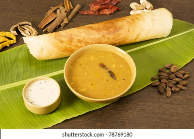 Sambar Dosa with Ingredients, South Indian Dish