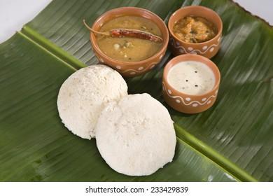 Sambar with Idli with Coconut Chutney, Indian Dish