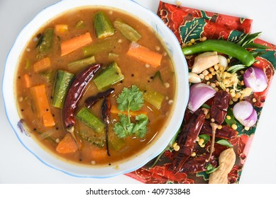 Sambar South Indian curry/ dish, Kerala, India. lentil/ dal, vegetables, vegetable stew Tamil cuisine Indian spices. side dish of rice/ coconut rice, Idly, dosa, traditional Onam sadhya, Vishu, Pongal