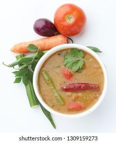 sambar - south Indian spicy hot veg curry popular cooked food in Kerala, Tamil Nadu, Sri lanka