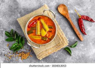 Sambar- Traditional Southe Indian and Sri Lankan Stew with Lentils and Mixed Vegetables, Spices and Curry Leaves
