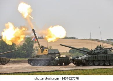 SAMBEK, ROSTOV REGION, RUSSIA, JUNE 28, 2019: International military technical forum ARMY-2019. Self-propelled howitzer 2S3M «Akatsiya» is shooting during show