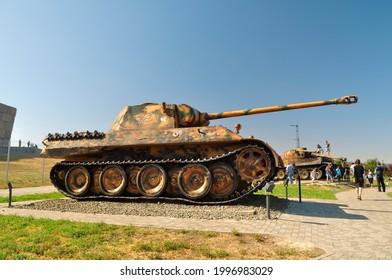 "Sambek, Rostov state, Russia - 09 13 2020: Medium German tank ""Panther"" in the Sambek heights museum"