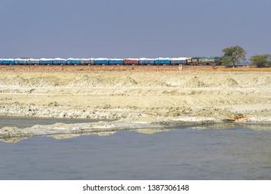 Sambhar, India - February 03, 2019: Indian train on railway near Sambhar Salt Lake. Rajasthan