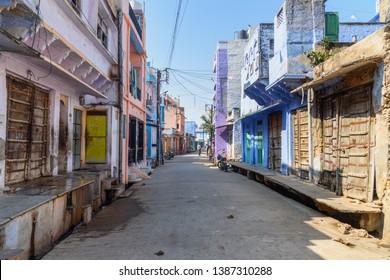 Sambhar, India - February 03, 2019: On the street in Sambhar Lake Village. Rajasthan