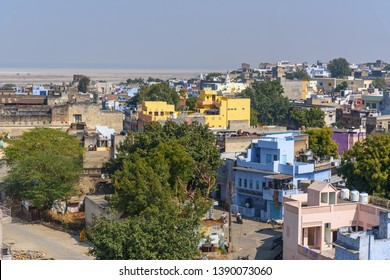 Sambhar, India - February 03, 2019: View of Sambhar Lake Village in Rajasthan