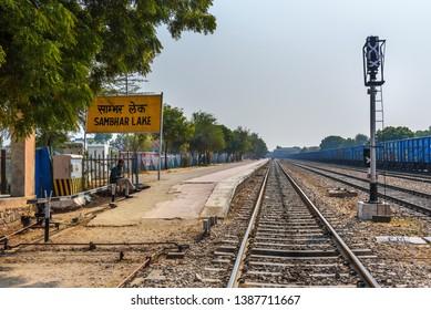 Sambhar, India - February 04, 2019: Train platform at the station in Sambhar Lake Village