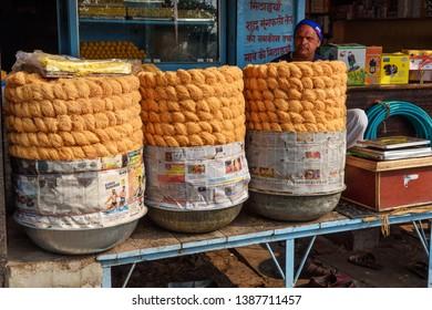 Sambhar, India - February 05, 2019: Indian traditional sweet food Fini or Pheni on the street. Rajasthan