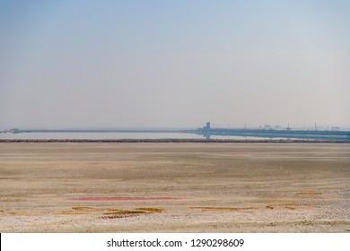 Sambhar, Rajasthan - January 19, 2019: A landscape view of the Sambhar salt lake.