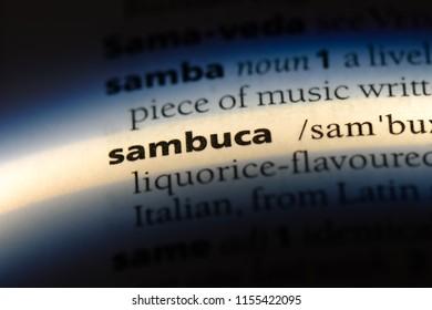 sambuca word in a dictionary. sambuca concept.