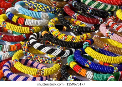 Samburu beaded bracelets for sale at Samburu/Buffalo Springs Game Reserve airstrip, Kenya