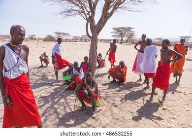 Samburu, Kenya - September 8, 2016: Samburu Village with group of people, Sept. 8, 2016. village Samburu are a Nilotic ethnic group