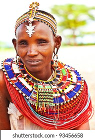 SAMBURU,KENYA - NOVEMBER 8: portrait of an African tribal lady, wears handmade cultural accessories for traditional dance on November 8,2008 in tribal village near Samburu National Park Reserve,Kenya.