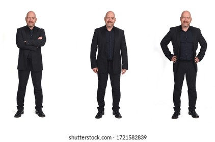 the same elegant man with various poses on white background