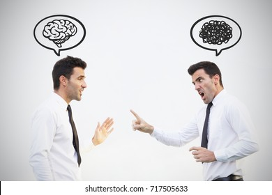 The same guy in the different state of mind, Brain versus anger concept. Inner peace is the key. Stock image