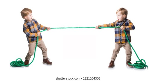 The same kid pull the the rope on a white background