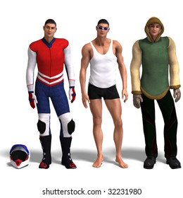 same man in three different costumes: Racer, Sport, Winter. Mix'n'Match. With clipping path and shadow over white
