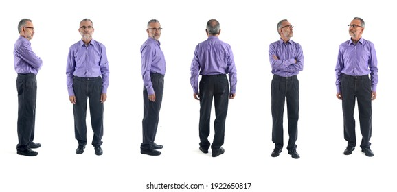same man with various poses on white background