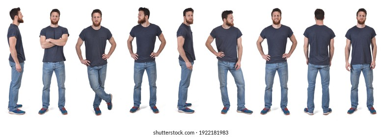 the same man in various poses with t-shirt on white background