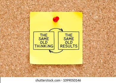 The Same Old Thinking The Same Old Results concept written on yellow sticky note pinned on bulletin cork board.