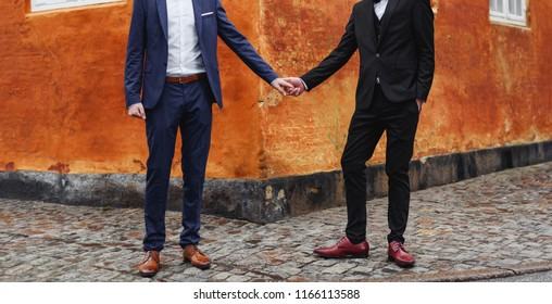 Same sex couple holding hands, gay wedding.