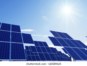 same solar panel towers with sun
