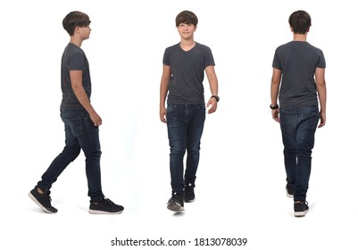 same teenager boy walking on white, front, side and back view