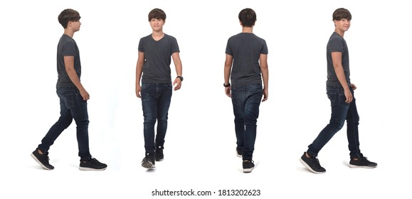 same teenager boy walking on white, front, back and side view