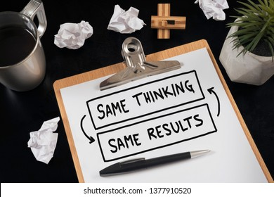 Same thinking and same results, negative feedback mindset concept.