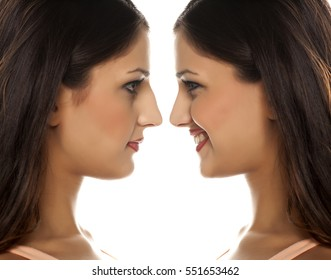 same woman before and after nose surgery
