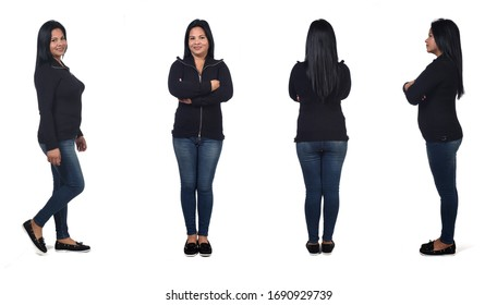 same woman with front,back,profile and walking on white background